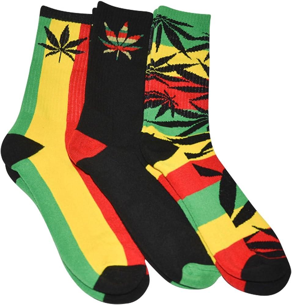 Red Weed Leaves Mens Dress Socks High Graduated Mid-Calf Socks 15.7