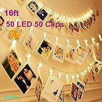 Jiemitai 16-Feet 50-LED Strip String Fairy Lights with 50 Photo Clips