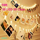 50 LEDs 50 Photo Clips String Light Battery Powered Decoration For Home Living Bedroom Indoor Christmas Party Decoration for Photo Picture Hanging display,3AA Battery Operated (16ft Warm White)