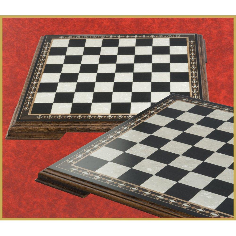 【着後レビューで 送料無料】 Mini Luxury Chessboard Mother Black with Inlaid Marquetry B01M5E2EST Design and Legs - Stained Black Walnut and Eco Mother of Pearl - 13.75 B01M5E2EST, こどもの森 e-shop メーカー直営:d71e39ab --- ciadaterra.com