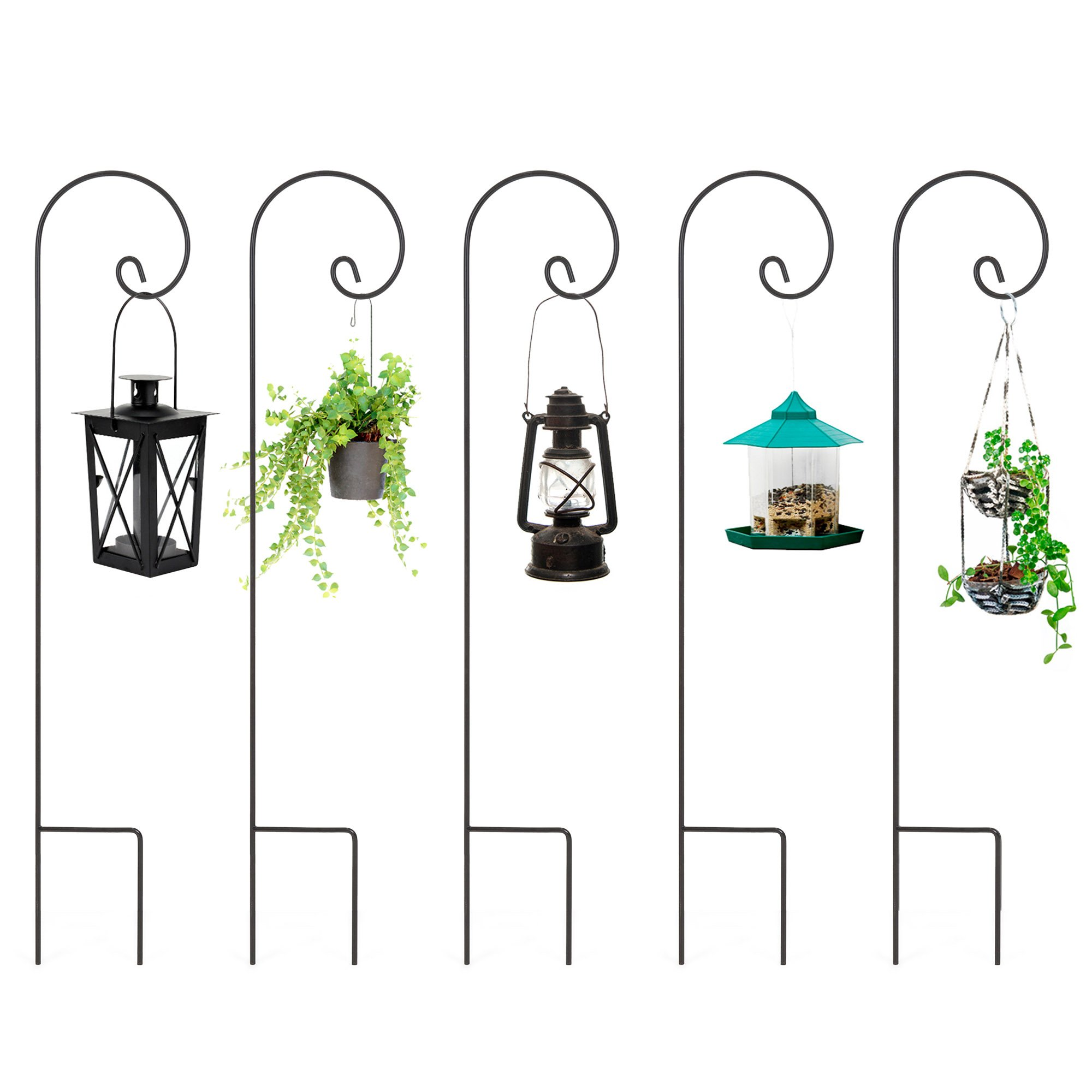Best Choice Products Set of 5 48in Multipurpose Metal Shepherd Hook Stands for Outdoor Planters, Lanterns, Decor - Black