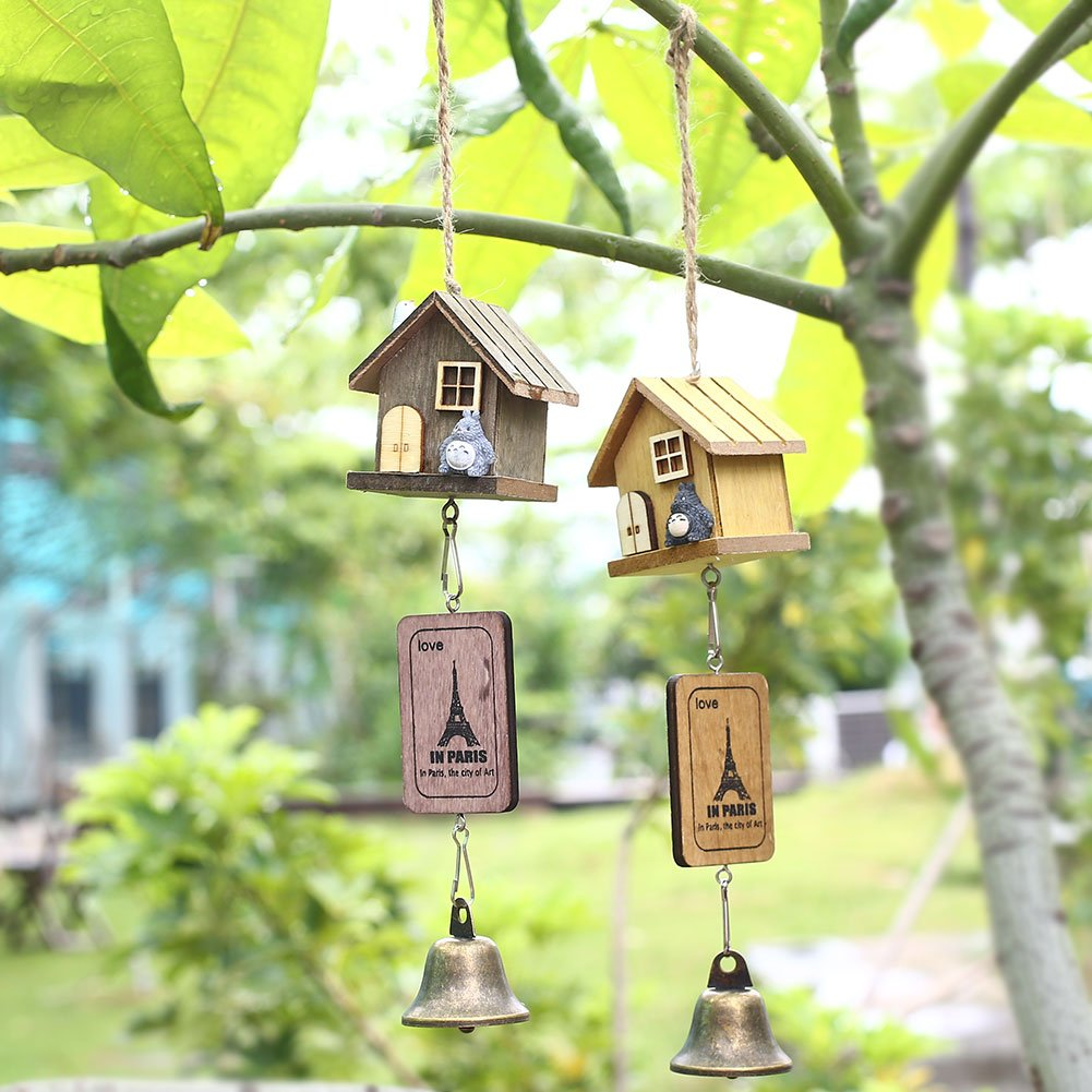 Wall of Dragon Japanese Totoro Wooden House Landscape Garden Outdoor Decor Wind Chime Bell