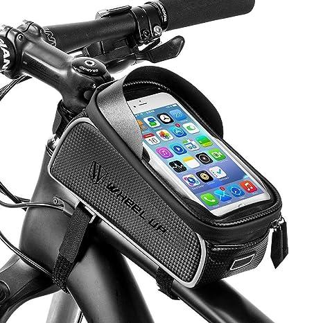 RockBros - Bolsa de Ciclismo con Marco Frontal para Bicicleta, Impermeable, para teléfono Móvil