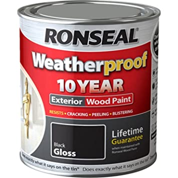 one coat exterior gloss paint. ronseal rslwpblk750 750ml weatherproof 10 year exterior wood paint gloss - black one coat