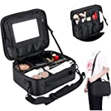 Makeup Organizer Cosmetic Bag with Removable Mirror, BeMyLady Make Up Travel Cases Waterproof Box with Brush Holder, Adjustable Dividers,Shoulder Strap, Black