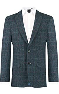 ba6700d0 Harris Tweed Mens Dark Blue Windowpane Check Tweed Jacket Regular Fit 100%  Wool Notch Lapel