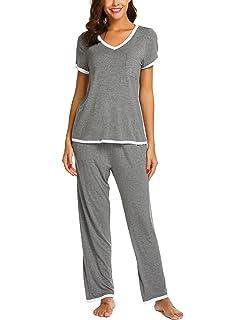 Ekouaer Womens Pajamas Short Sleeves V-Neck Top with Pants Pajama Set Sleepwear