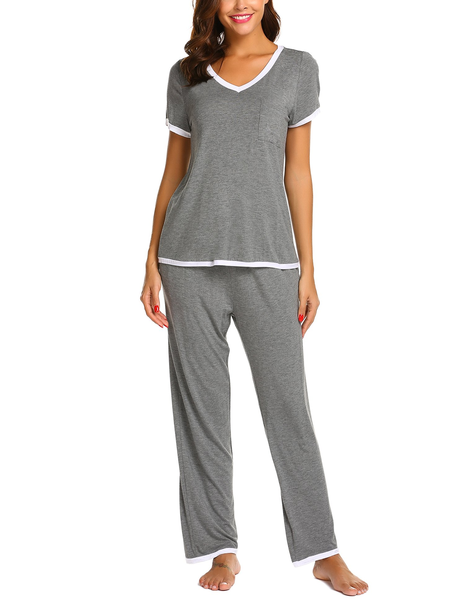 Ekouaer Women Pajamas Set V-Neck Short Sleeve Top and Elastic Waist Long Pants Lounge Sleepwear (Gray XL) by Ekouaer (Image #1)
