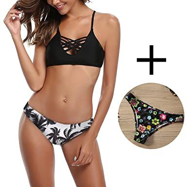 dae6efbff8 Amazon.com: Womens Push-up Padded Bikini Set Sexy Floral Bathing Suit  Halter Swimwear (1 Top and 2 Bottoms): Clothing