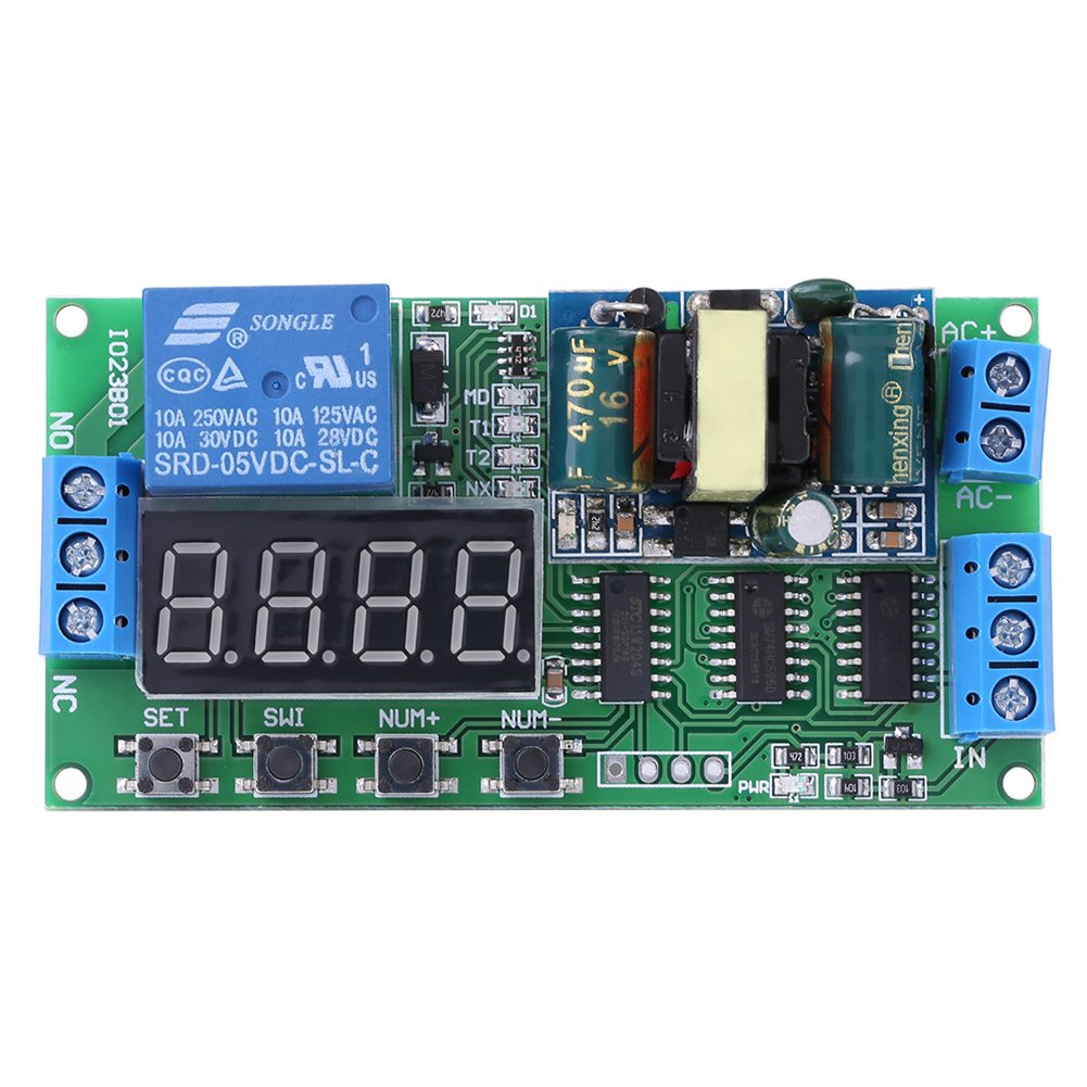110V LED Automation Delay Timer Control Switch Relay Module Multifunctional Digital LED Display Delay Relay Module, 1-9999s Adjustable Delay Timer Switch ON/OFF Relay Module