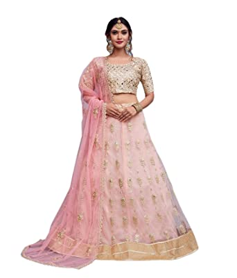 651ad6fd279 Amazon.com  CRAZYBACHAT Latest Indian Designer Dress Net Pink Color  Embroidery Lehenga Choli  Clothing