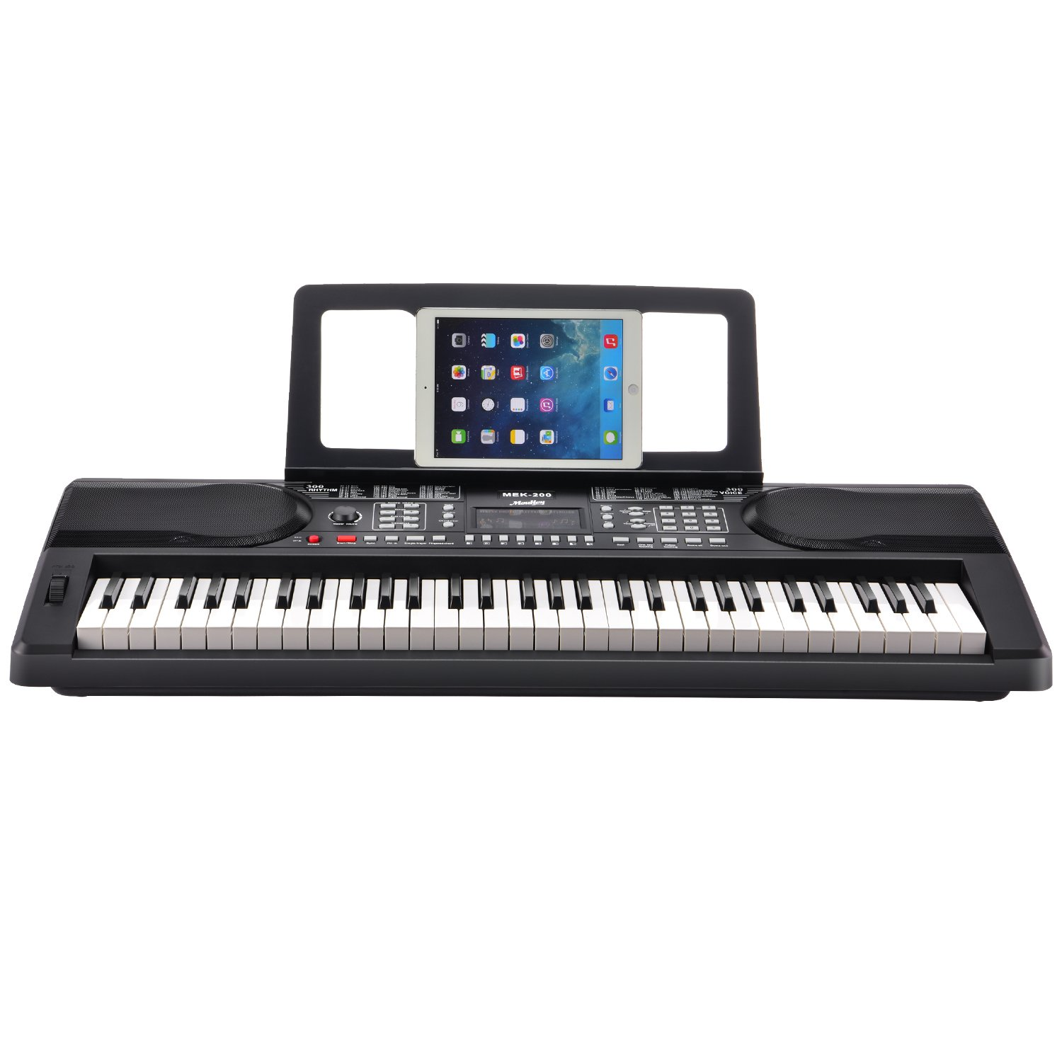 Moukey MEK-200 Electric Keyboard Portable Piano Keyboard Music Kit with Stand, Bench, Headphone, Microphone & Sticker, 61 Key Keyboard, Black by Moukey (Image #2)