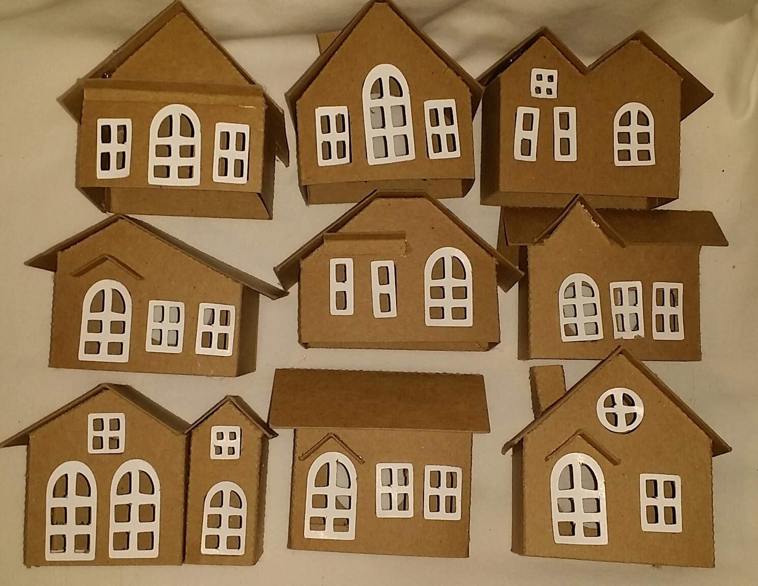 Vintage Style Cardoboard Putz Houses- Set of 9 Houses