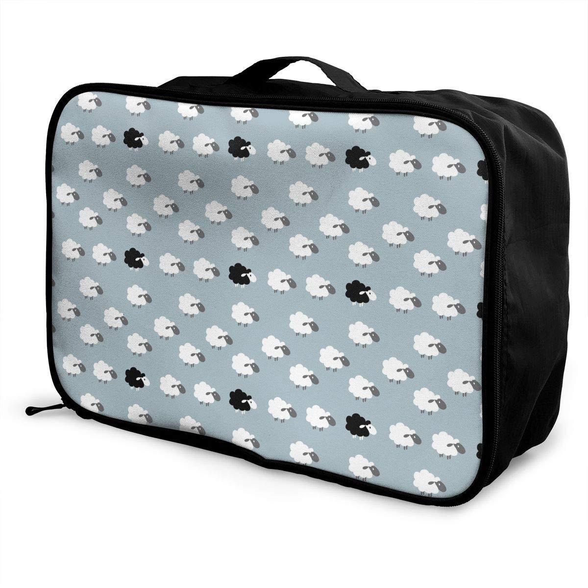 Travel Luggage Duffle Bag Lightweight Portable Handbag White Black Sheep Pattern Large Capacity Waterproof Foldable Storage Tote