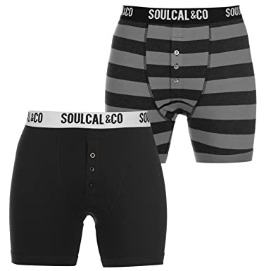 SoulCal Mens 2 Pack of Boxers Boxer Underwear Pattern Stretch Elasticated  Waist Anthra Stripe Medium b54687b92