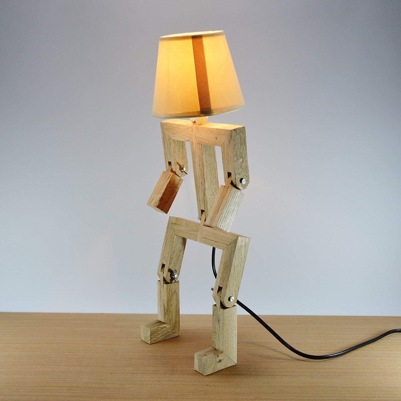 Lampe bonhomme articulée design en bois de chêne HAT