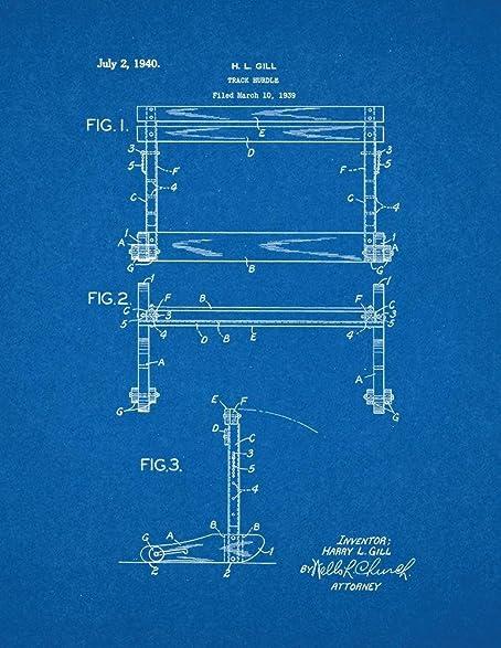 Amazon track hurdle patent print art poster blueprint 18 x 24 track hurdle patent print art poster blueprint 18quot malvernweather Choice Image