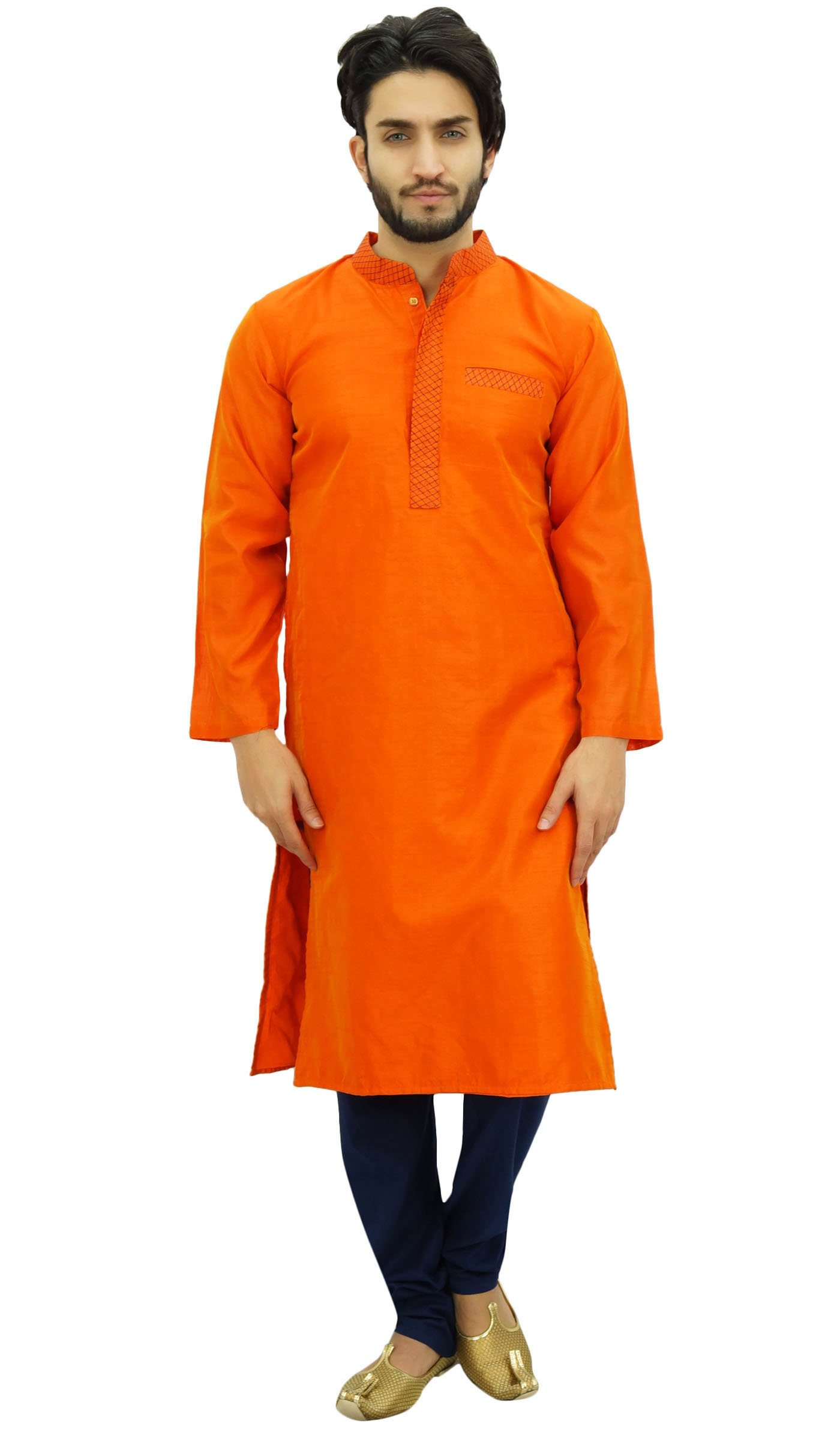 Atasi Designer Indian Ethnic Men's Orange Kurta Pyjama Long Dupion Shirt-XXXL