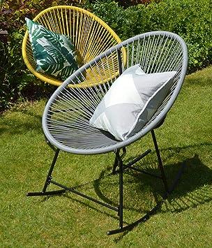 Pleasant Sue Ryder String Rocking Retro Moon Chair Grey Garden Inzonedesignstudio Interior Chair Design Inzonedesignstudiocom