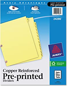 Avery 24286 Preprinted Laminated Tab Dividers w/Copper Reinforced Holes, 12-Tab, Letter