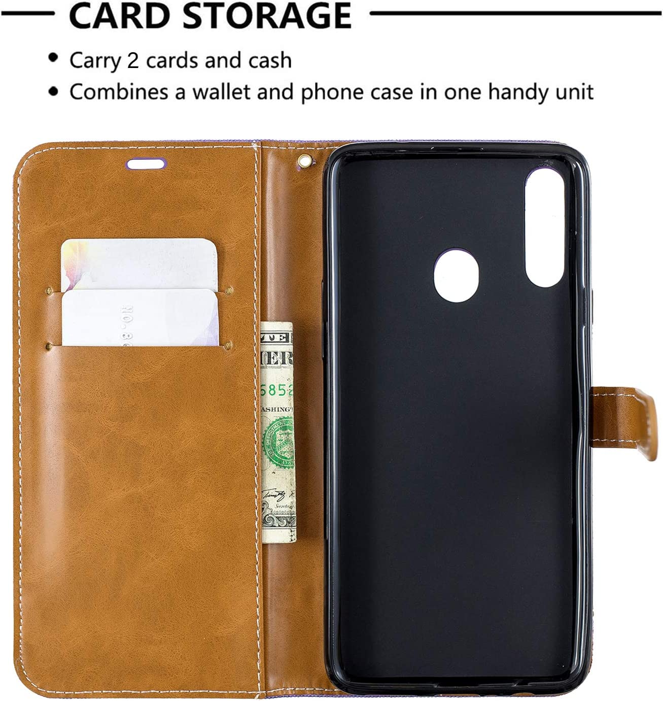 Shockproof Leather Flip Cover Case for Samsung Galaxy A20S NEBFE020312 Brown NEXCURIO Wallet Case for Galaxy A20S with Card Holder Side Pocket Kickstand
