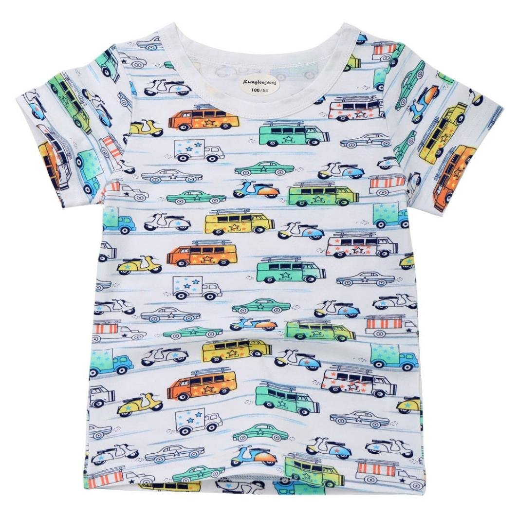 Colorful Boys Cartoon Car T-Shirt, (TM) for 1-7 T Summer Infant Baby Kids Boys Girls T Shirts Bus Fish Print Tops Tee