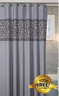 Brushed Nickel Decorative Fabric Shower Curtain With FREE Magnetic PEVA  Liner 72u201d X 72u201d