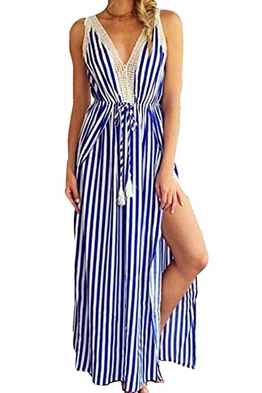 75c55e9e61 Women Casual Deep V-Neck Drawstring Slit A-Line Maxi Beach Dresses at  Amazon Women s Clothing store