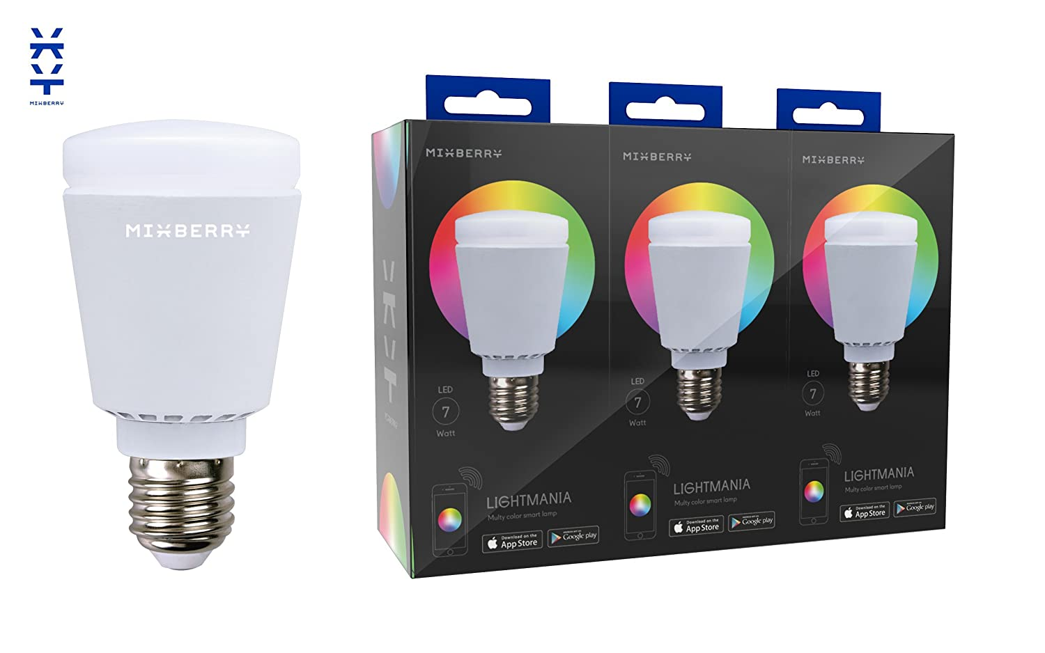 iphone controlled lighting. Bluetooth Smart LED Light Bulb By Mixberry - 3-Pack E27 Medium Base 16 Million Dimmable Colors Features Sleep/Wake \u0026 Party Modes Save 10% Compared To Iphone Controlled Lighting