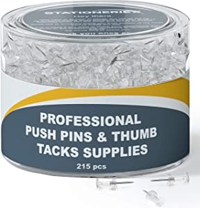 215 Clear Push Pins for Bulletin Board Thumb Tacks for Wall Corkboard Map Calendar Photo -Home Office Craft Projects Heavy Duty Plastic Head Steel Pin (Clear)