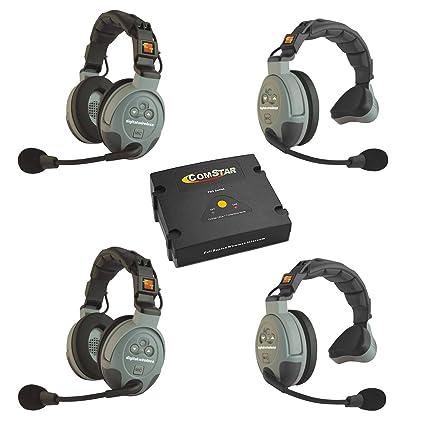 c38be49cee7 Amazon.com: Eartec Comstar XT-4 4 Person Full Duplex Wireless Intercom  System: Home Audio & Theater