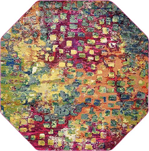 Rug Octagon - Unique Loom Jardin Collection Colorful Abstract Multi Octagon Rug (8' 0 x 8' 0)