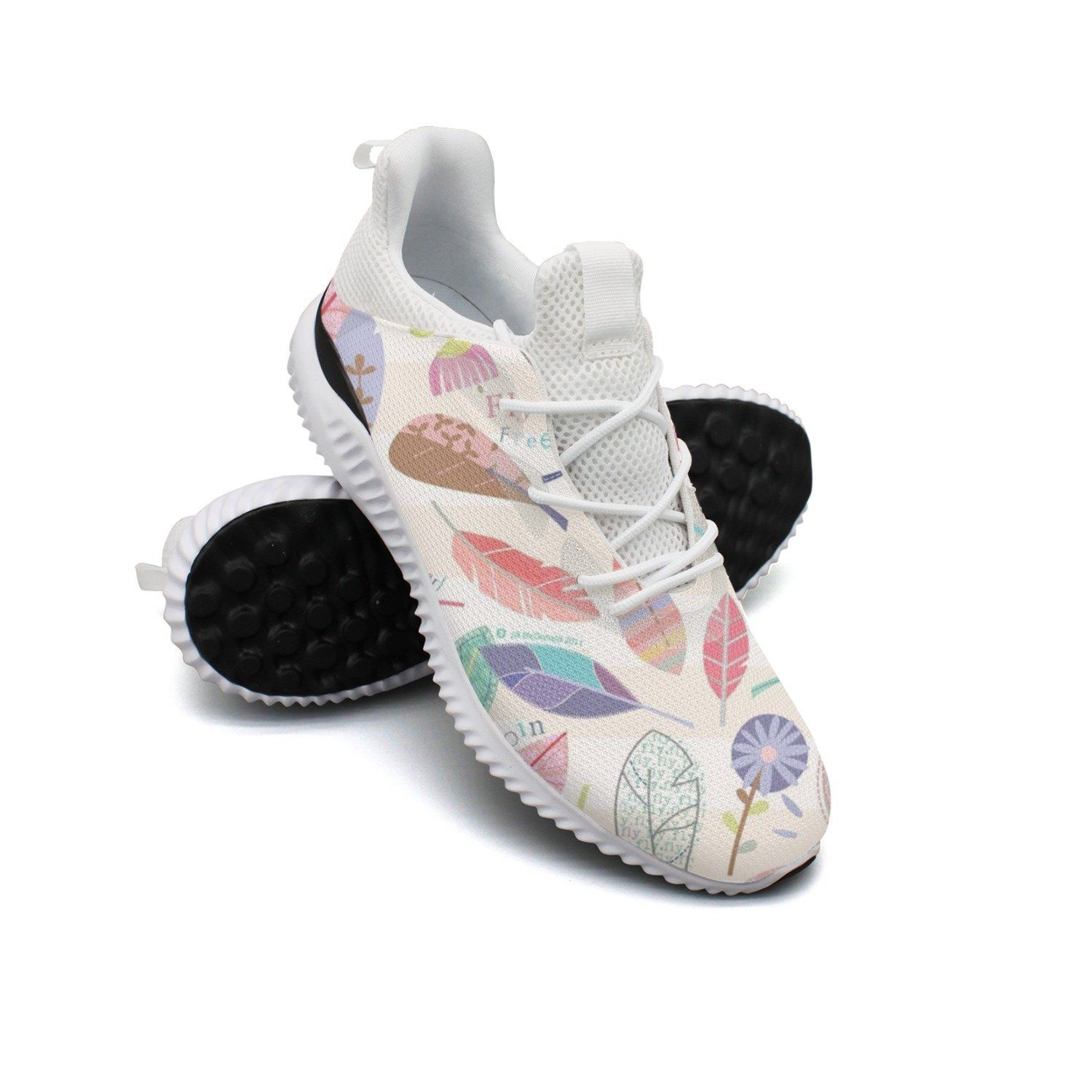 Feathers Vector Background Leisure Casual Running Shoes Woman Net Cool Lovely