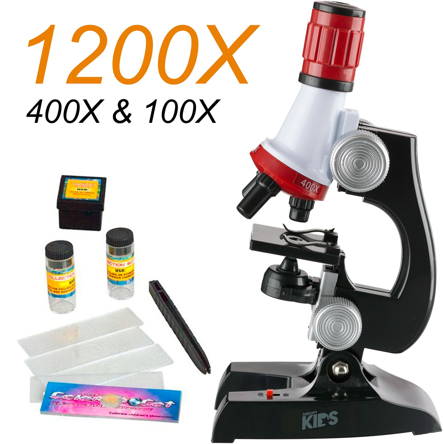 400x ALEENFOON Kids Microscope 100x Magnification Children Science Microscope Kit with LED Lights Includes Accessory Toy Set for Beginners Early Education 1200x