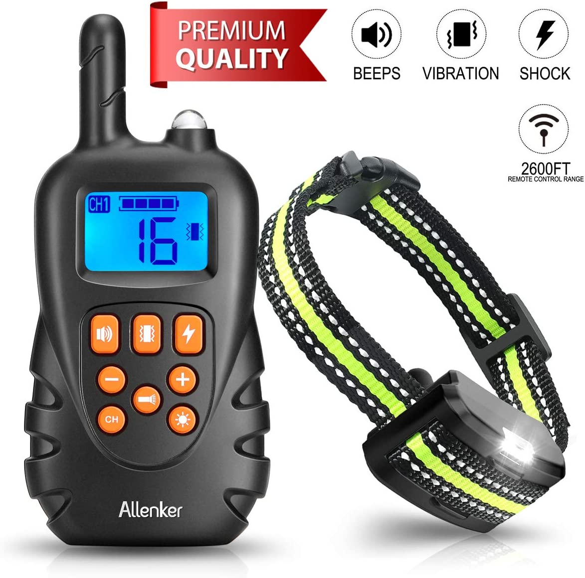 Dog Training Collar – Rechargeable Shock Collar for Dogs W Beep Vibration Humane Shock, 100 Waterproof Dog Shock Collar with Remote up to 2600Ft Range, 0 16 Shock Levels W 2-in- 1 Charger
