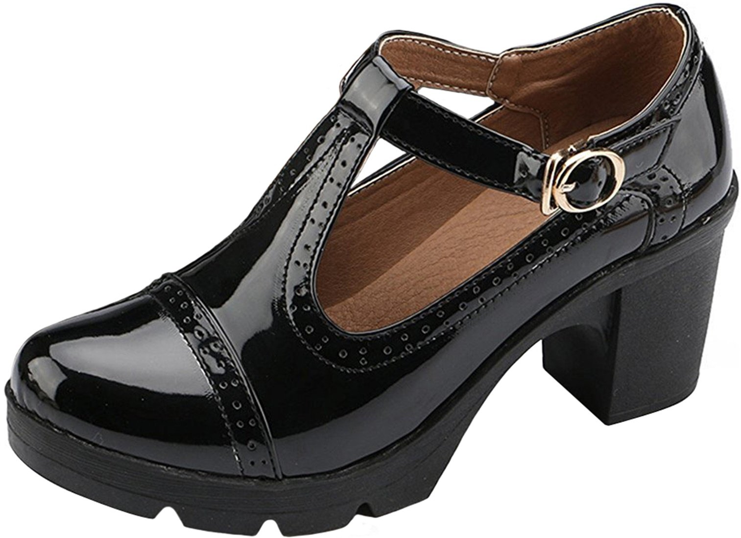 PPXID Women's British Style T-Bar Platform Heeled Oxford Shoes Work Shoes-Black 8.5 US Size