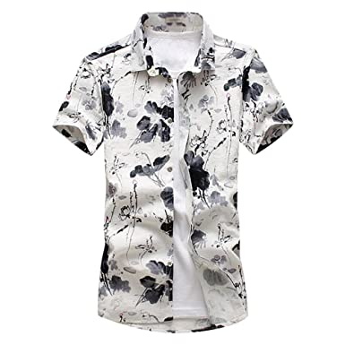 a8c459c8183fe YuanDian Men Summer Casual Floral Printed Beach Blouses Shirts Plus Size  Slim Fit Short Sleeve Tropical