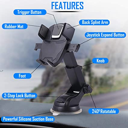 Easy One Touch Clamping KENZii Car Phone Mount Holder Samsung Galaxy Dashboard Windshield Stand with Suction Cup Air Vent Expandable Arm Compatible with iPhone Huawei LG Black Nokia