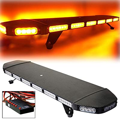 "DOMINTY 41"" 96 LED Amber Yellow High Intensity Construction Emergency Warning Strobe Light Bar Rooftop Low Profile Law Enforcement Hazard Flashing Tow Truck Vehicle Top Roof Mount Base+Digital Switch: Automotive"