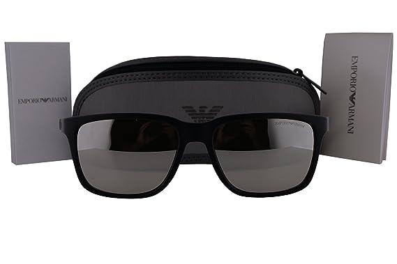 7de6bffed0b Emporio Armani EA4047 Sunglasses Black Rubber w Light Grey Mirror Silver  Lens 50636G EA 4047  Amazon.co.uk  Clothing