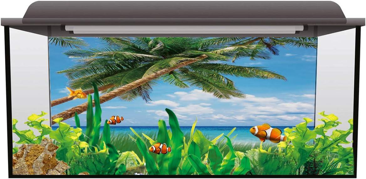 Watercolor Wave Dots Pattern Fish Tank Background Aquarium Sticker Wallpaper Decoration Picture PVC Adhesive Poster T/&H Home Aquarium D/écor Backgrounds