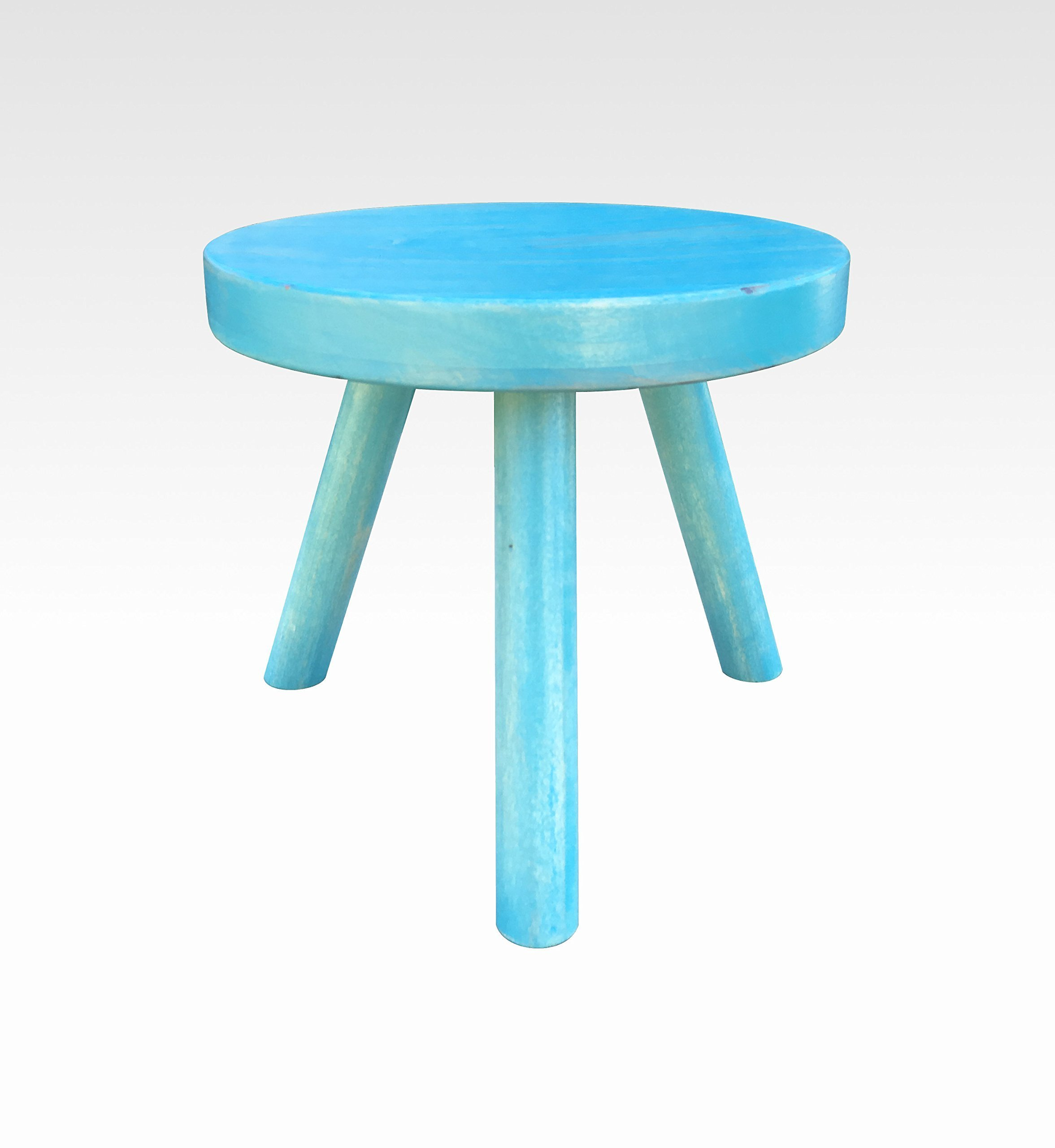 Small Wood Three Legged Stool, Modern Plant Stand in Vintage Aqua by Candlewood Furniture, Wooden, Tea Table, Kids Chair, Decorative