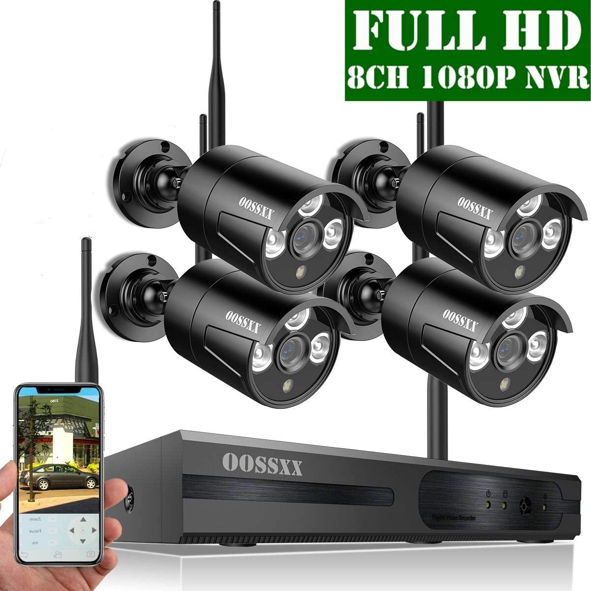 2019 Update HD 1080P 8-Channel Outdoor Wireless Security Camera System,4 pcs 1080P 2.0Megapixel Wireless IP67 Weatherproof Bullet IP Cameras,Plug Play,70FT Night Vision,P2P,App, No Hard Drive