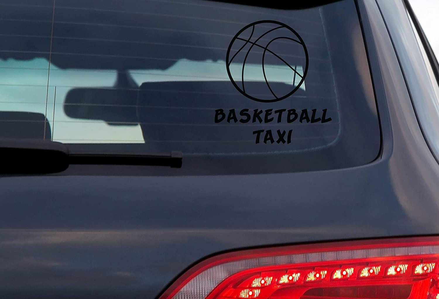 4 Inch White Vinyl Decal for Car Window Exterior DOOMSDAYDECALS Basketball Taxi
