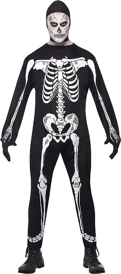 SmiffyS 23032M Disfraz De Esqueleto De Cuerpo Entero Con Capucha ...