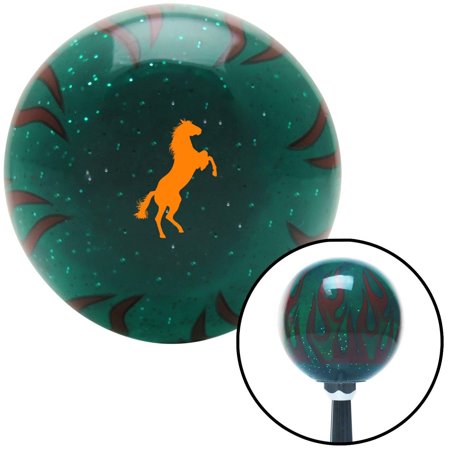 Orange Horse Rearing Green Flame Metal Flake with M16 x 1.5 Insert American Shifter 299944 Shift Knob