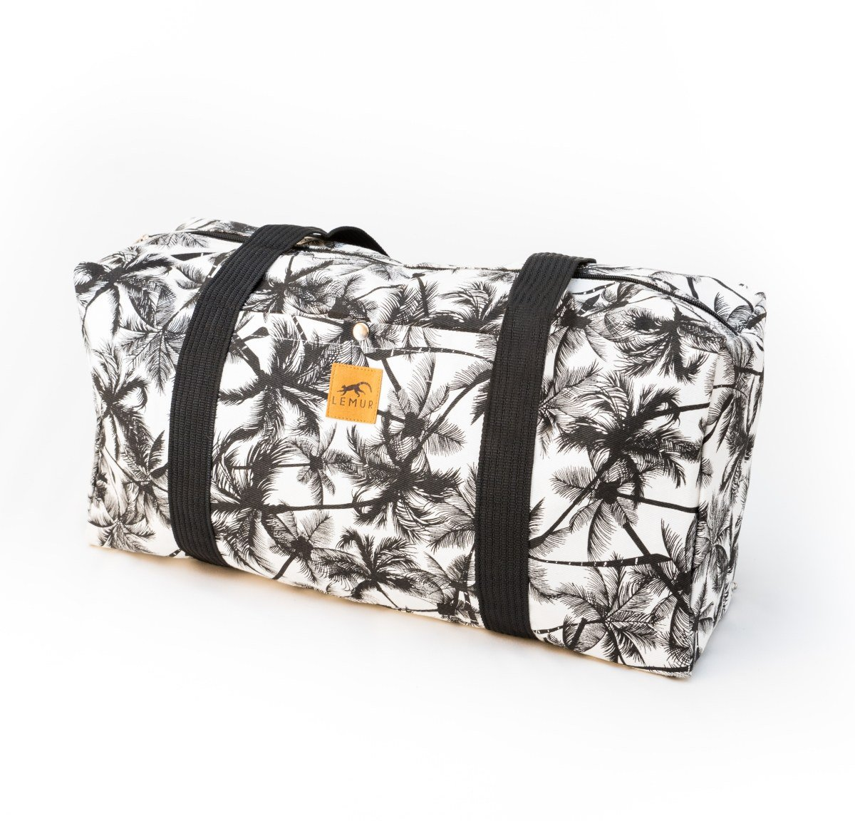 Canvas Duffel Bag - 20 Liter Gym Tote, Foldable Overnight Travel Weekend Luggage by Lemur Bags (Tropical Palm)