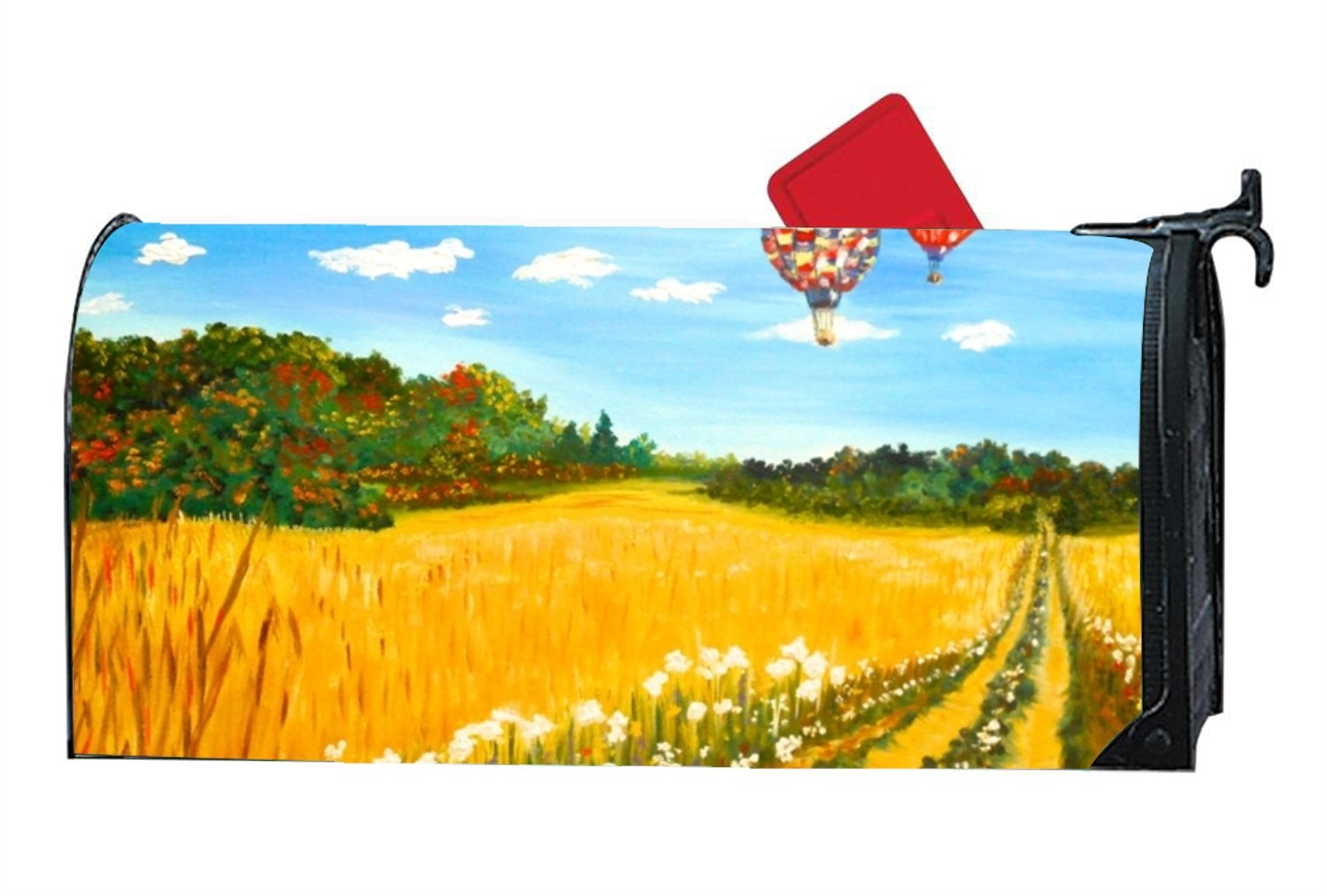 Mailbox Cover - Decorative Magnetic Mailbox Hot Air Balloons Art Design,Surrounds all 6.5'''' x 19'''' standard or traditional size mailboxes