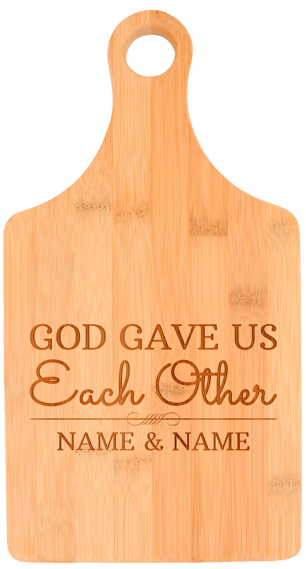 Custom Wedding Gift Christian God Gave Us Eachother Personalized Paddle Shaped Bamboo Cutting Board