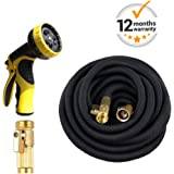 VOLFO 100 Feet Expanding Garden Hose with Heavy Duty 9 Adjustable Watering Patterns Spray Nozzle, Natural Latex Core, Plastic Water Nozzle, Black Hose and Yellow Nozzle